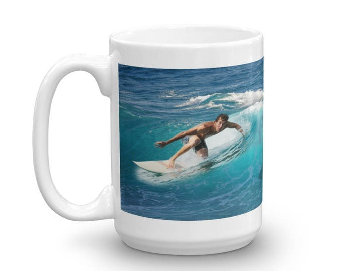 Shark Bait Mug, Surfer Shark Mug, Hidden Danger Mug, Underwater Danger Mug, Shark in Waves, Gift Ideas