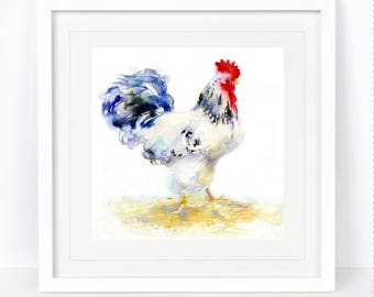 Ermantrude - Rooster, Cockerel Print. Printed from an Original Sheila Gill Watercolour. Fine Art, Giclee Print, Hand Painted, Home Decor