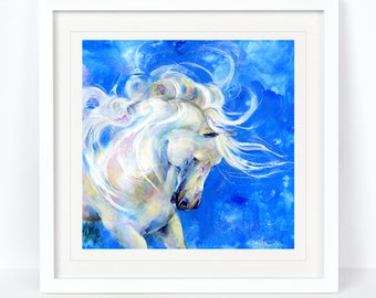 White Stallion - Horse Equine  Limited Edition Print from an Original Sheila Gill Watercolour. Fine Art,Giclee Print,Hand Painted,Home Decor