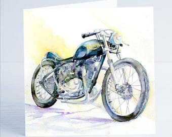 Triumph Motorcycle - Greeting Card - Taken from an original watercolour by Sheila Gill