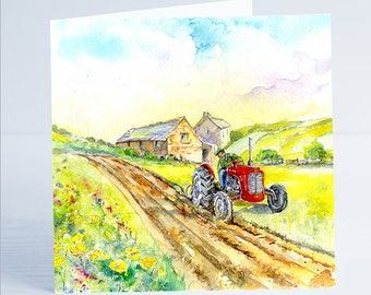 Harvest Time Tractor Ploughing - Greeting Card - Taken from an original watercolour by Sheila Gill