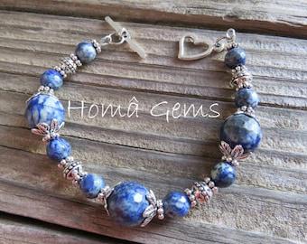 Lapis lazuli, blue bracelet