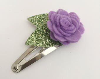 Periwinkle Flower Snap Clip - Wool Felt - Snap Clips - 50mm Clips -