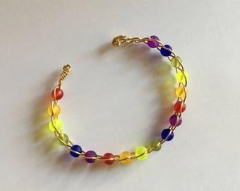 Rainbow cuff wire work bracelet, 7 inches, handmade