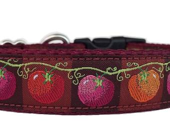 Tomatoes on a Vine Ribbon Dog Collar