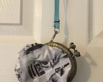 Handmade Sci fi framed fabric coin purse for ladies and teens, ideal for nights out
