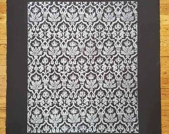 """Original Large Woodblock Pattern c. 2008 """"Silver Lining"""" 22x30 inches"""