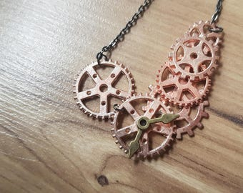 Steampunk rose gold cogs necklace