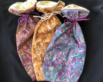"Sampler Set #7 - 3 Medium (Wine) Gift Bags - ""Paisley"" - Limited Edition Fabric - Fully Lined with Gold Lamé (Set7Paisleyx3-LR10)"