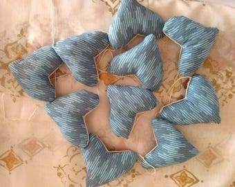 blue hearts bunting with black geometric lines - fabric polyfibre filled shapes on string 2.8m