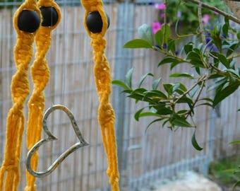 yellow macrame plant hanger, hamsa, beads,fiowerpot,hanging planter