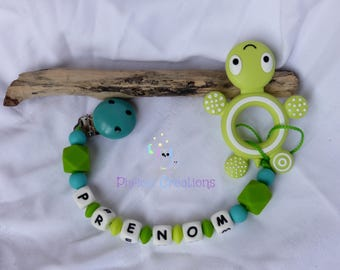 Teething ring with attached silicone custom Beanie, turquoise blue and green, turtle, raccoon
