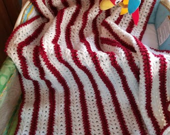 Red and White cable look crochet baby afghan