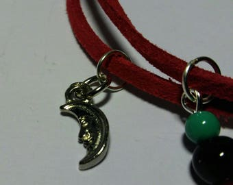 The Earth to the Moon: adjustable bracelet, red suede, silver Moon charm beads