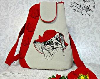 Textile Backpack Embroidered Shoulder Bags Multifunctional Travel Backpack Bag for Girls Backpack for School Women's Backpacks Red Dog York