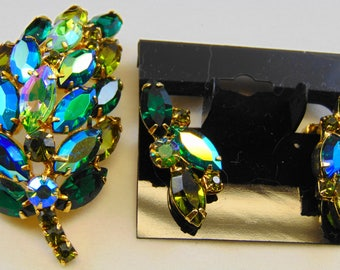DeLizza and Elster D&E Juliana Multi Green Rhinestone 3-D Leaf Brooch Pin and Clip Earrings Set