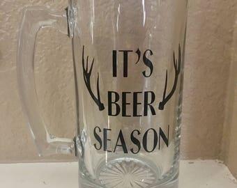 """Glass """"It's Beer Season"""" Mug"""