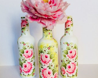 Decoupaged Bottles - Set of 3