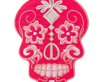 Skull Pink/Silver patch appliqué Iron on patch application #9408