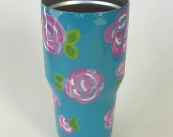 Custom Hand Painted Flower Tumbler