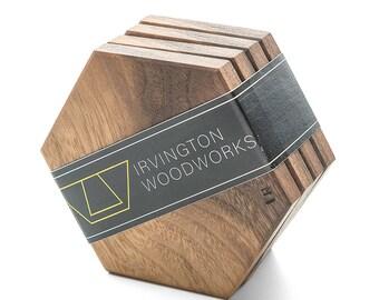 Walnut Coaster, Hexagon Wood Coaster, Set of 4