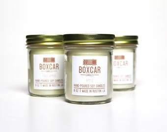 Boxcar Candles 8oz Soy Wax Hand Poured with Essential Oil