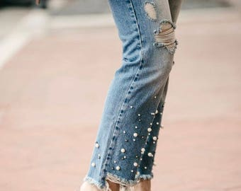 Sale!!Free people pearl embellished jeans