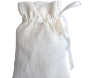 50 white linen bags small ribbon drawstring pouches in natural ivory or white linen set of 50 linen purses mini gift bags weddings favor bag