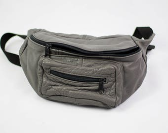 Vintage 90s Gray Leather Fanny Pack
