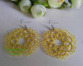 Tatted Lace Light Yellow Earrings with Beads - Flora