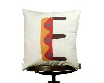 Funny bright color Pillow cover with letter E, Yellow, Monogram cushion, Multi-Coloured, kids room pillows, nursery cushions