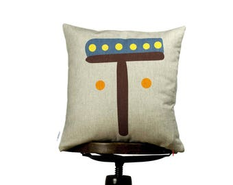 Funny bright color Pillow cover with letter T, Yellow, Monogram cushion, Multi-Coloured, kids room pillows, nursery cushions