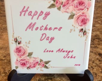 Personalized tile 4x4 Happy Mothers Day
