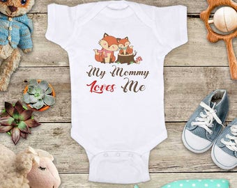 My Mommy Loves Me Fox and Baby on Tree Stump - or Uncle Grandma Daddy Aunt Baby Bodysuit Shower Gift - Made in USA toddler kids youth shirt