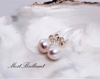Pearl earrings,stud earrings, cultured freshwater pearls, sterling silber 925