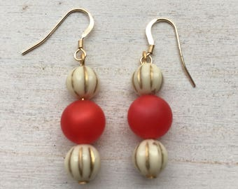 Vintage Watermelon-Colored and Cream Beaded Drop Earrings