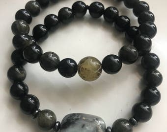 Onyx stack bracelets