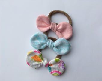 Nylon Headbands, Spring Headbands, Spring Bows, Baby Bows, Baby Girl Headband, Headband Set, Toddler Headbands, Knotted Bows