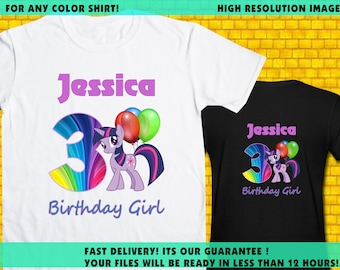 My Little Pony / Iron On Transfer / Girl Birthday Shirt Transfer DIY / High Resolution / For Any Color T Shirt / 12 Hours Turnaround Time
