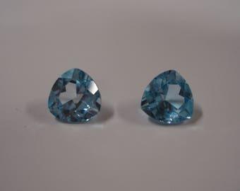 9MM x 9MM Trillion Genuine Swiss Blue Topaz Gemstone Pair