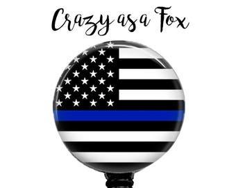 Thin Blue Line Flag Retractable Badge Holder, Police Badge Reel, Lanyard, Stethoscope ID Tag, Nurse, RN, Doctor, Teacher Gift