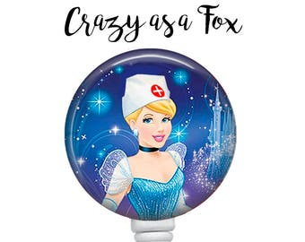 Nurse Cinderella Retractable Badge Holder, Badge Reel, Lanyard, Stethoscope ID Tag, Cinderella Nurse, RN  Gift
