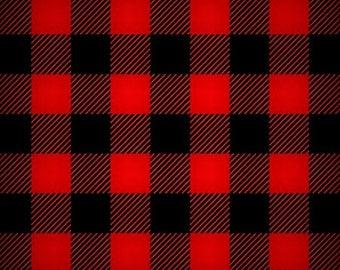Buffalo Check Fleece, Red Black Check Fleece, Apparel Fabric, Sports Fabric, Craft Supply, Sewing Material, Yard/Half Yard/Fat Quarter