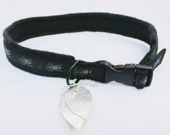 "Prcious dog collar ""Bug"", black, bug decor"