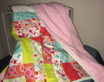 Beautiful Lightweight Lap Blanket or Baby Girl Quilt