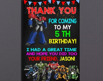 Transformers, Transformers Birthday, Transformers Invitation, Transformers Card, Transformers Thank You Card, Transformers Party theme