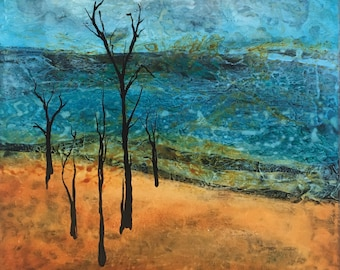 acrylic and oil landscape with trees