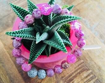 Pink Czech glass lava stone diffuser bracelet