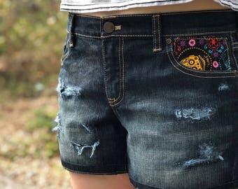 Upcycled shorts/ Star Wars C-3PO