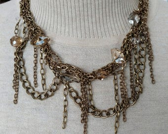 Messy Chain & Crystal Necklace